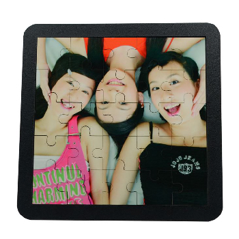 Front view of printed on square puzzle frame