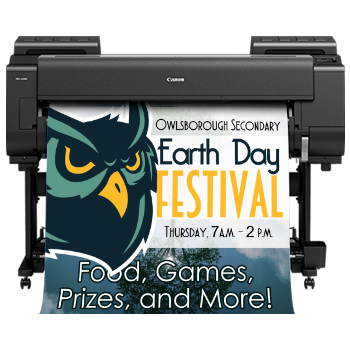 EducatorPLUS 44 featuring the new Canon large format poster printer model proimage 4100s printing out a school poster for a festival.
